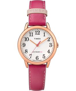 Easy-Reader-30mm-Exclusive-Color-Pop-Leather-Womens-Watch Rose-Gold-Tone/Pink/White large
