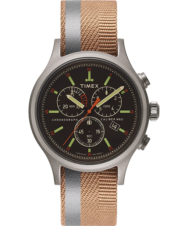 Allied Chronograph 42mm Reflective and Reversible Fabric Strap Watch  large