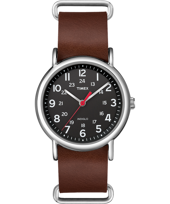 Weekender 38mm Leather Watch Silver-Tone/Brown/Black (large)