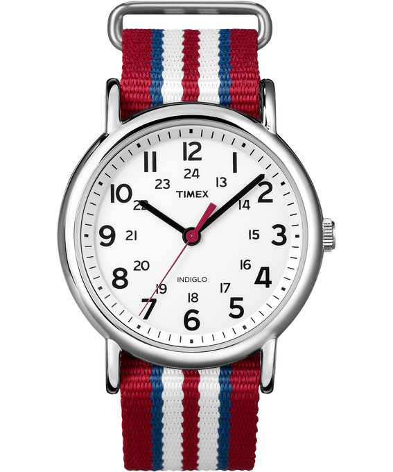Weekender Stripe 38mm Nylon Strap Watch Chrome/Red/White (large)