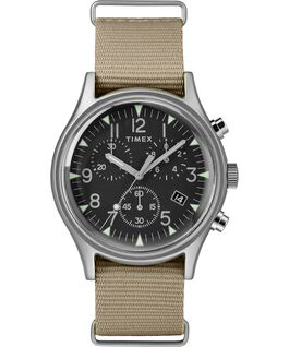 MK1 Aluminum Chronograph 40mm Nylon Strap Watch Silver-Tone/Tan/Black large