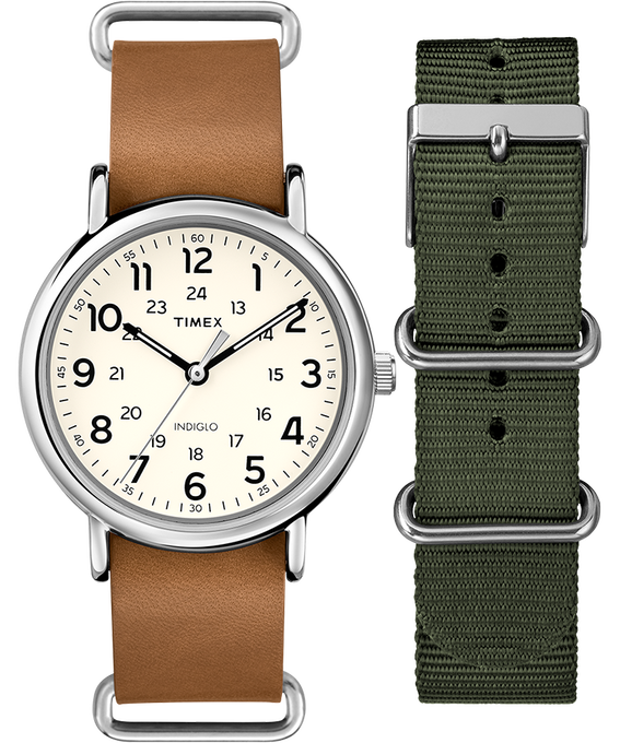 Weekender 40mm Tan Strap/Cream Dial Gift Set  large