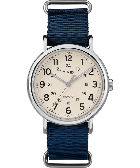Weekender 38mm Nylon Strap Watch Silver-Tone/Blue/Cream large
