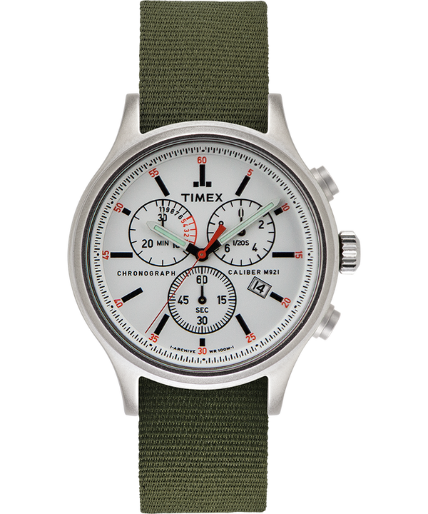 Allied Chronograph 42mm Reversible Fabric Strap Watch Silver-Tone/Green large