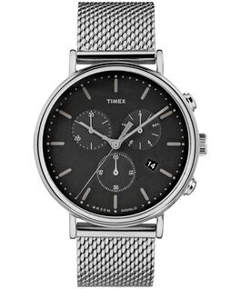 Fairfield Chronograph 41mm Mesh Stainless Steel Watch Silver-Tone/Stainless-Steel/Black large