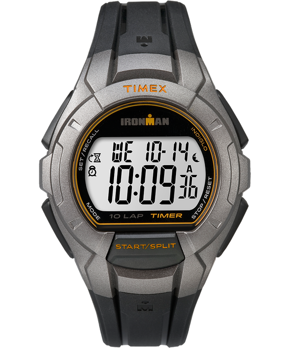 IRONMAN Essential 10 Full-Size 42mm Resin Strap Watch Silver-Tone/Black/Orange large