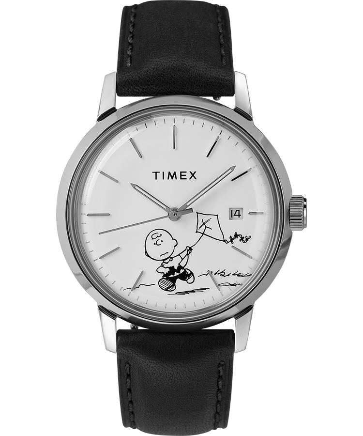 Timex Watch Men's Marlin Automatic X Peanuts Featuring Charlie Brown 40MM Leather Strap Stainless Steel/black/white Item # Tw2U12700Zv