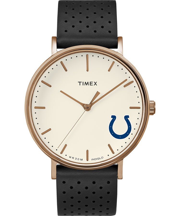 Timex Watch Unisex Grace Indianapolis Colts Rose Gold-Tone/black/cream Item # Twzfcolwfvq