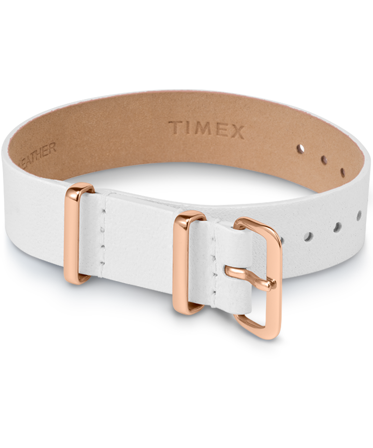 UPC 194366012842 product image for Timex Watch Women's 16MM Leather Slip-Thru Single Layer Strap White Item # Tw2T5 | upcitemdb.com